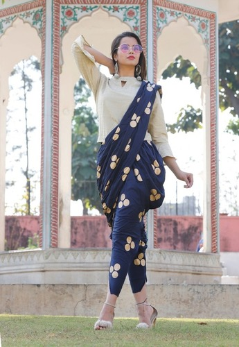 White Kurti and Blue round Gold Printed Dhoti Set