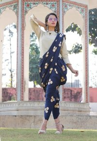 White Top and Blue round Gold Printed Dhoti Set