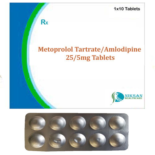 Metoprolol Tartrate 25 Mg Amlodipine 5Mg Tablets