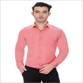Mens Peach Full Sleeves Formal Shirt