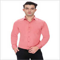 Mens Peach Full Sleeves Formal Shirt