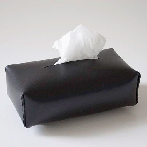 Black Leather Tissue Box
