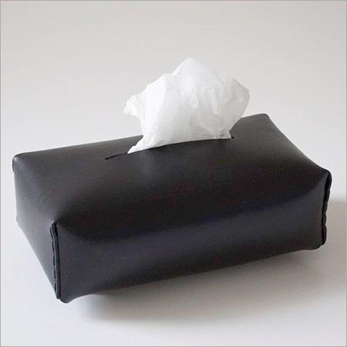 Black Leather Tissue Box