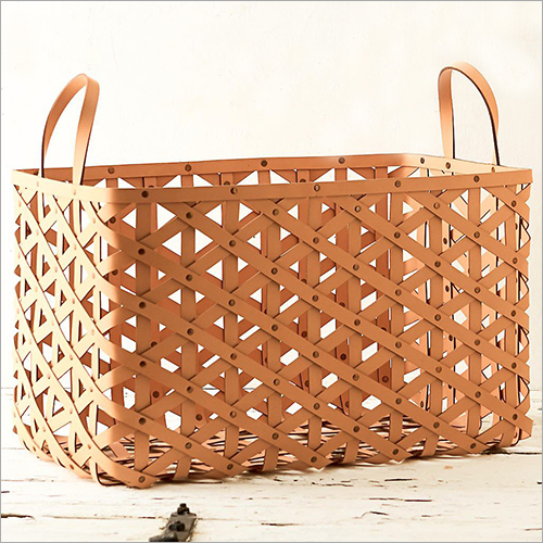 Leather Magazine Basket With Loop Handle