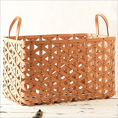 Leather Magazine Basket With Loop Handle