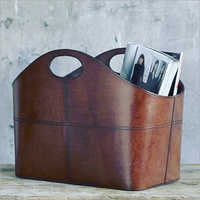Brown Leather Magazine Holder