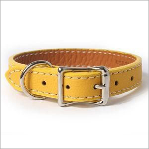 Yellow Leather Dog Collar