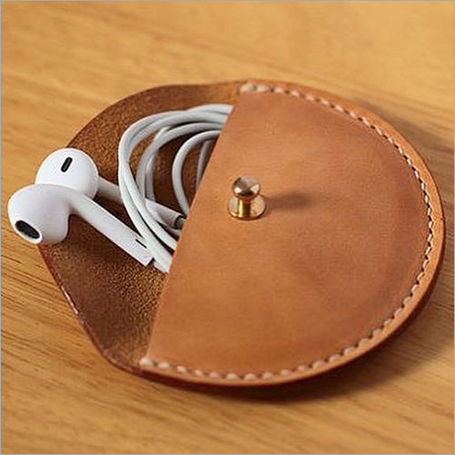Brown Leather Earphone Holder