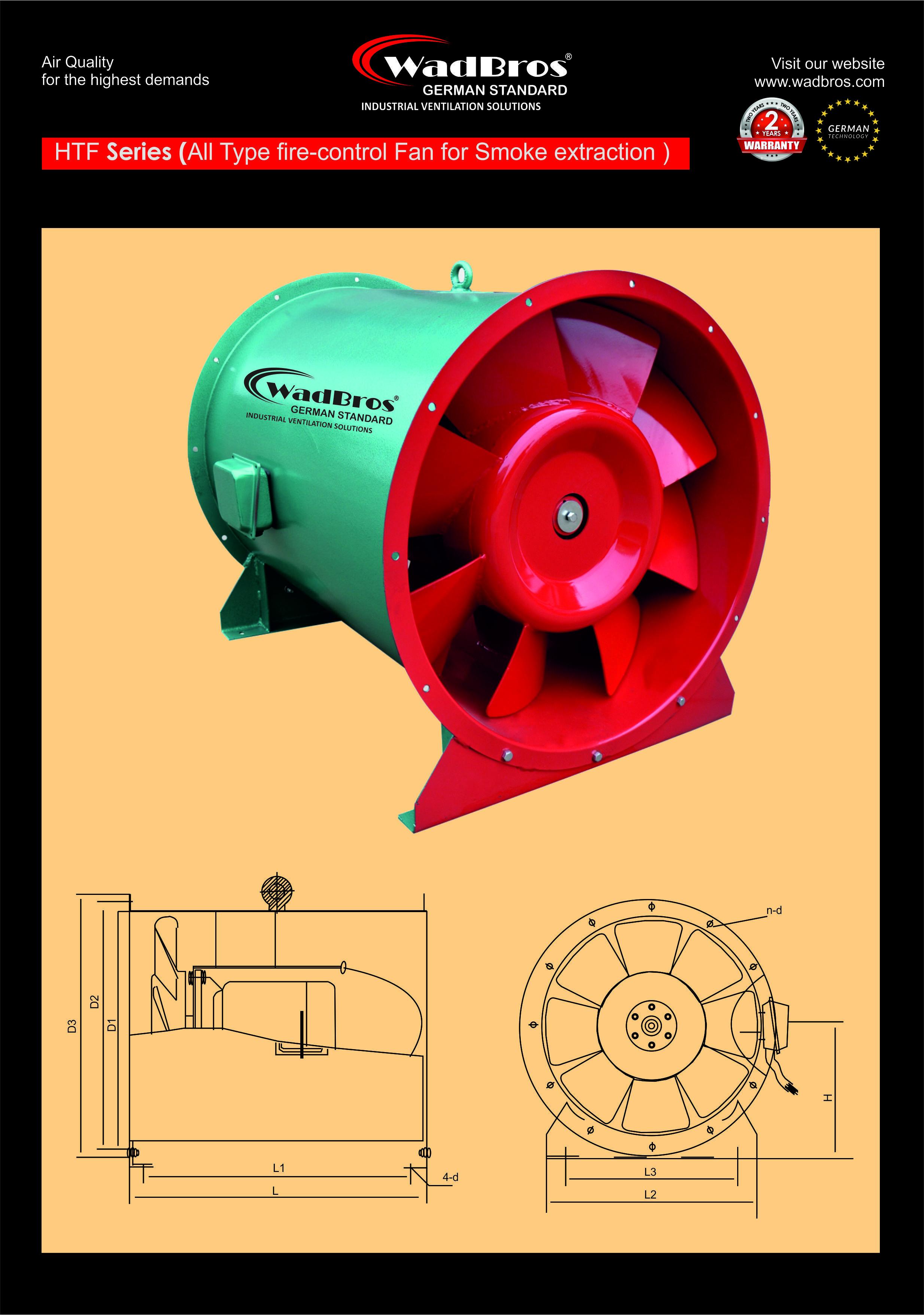 HTF Industrial Ventilation Fan ( All type Fan Fire - Control for Smoke Extraction )