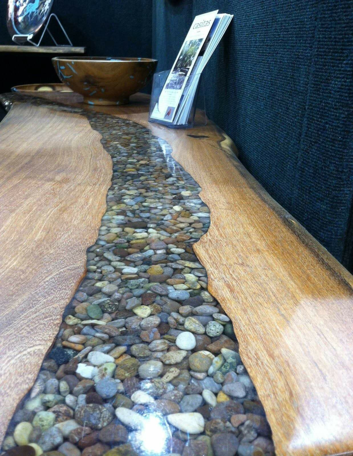 TABLE TOP WOODEN  CLEAR RESIN