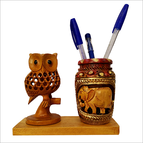 Hand Carved Design Wooden Pen Stand Holder