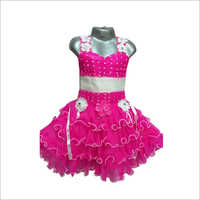 Girls Designer Pink Frock
