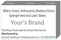 Bilberry Extract Anthocyanins Blueberry Extract Eyebright Herb and Lutein Tablets