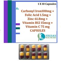 Carbonyl Iron Folic Acid Zinc Vitaminb12 Vitaminc Capsules