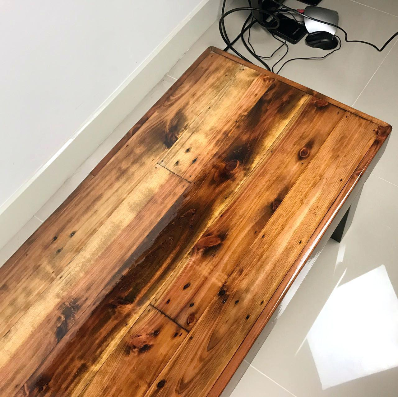 Wooden table top  Resin Glossy finish for home and hotel