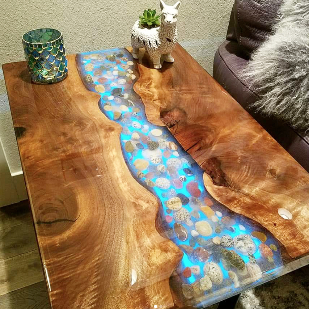 Wooden resin  clear table top for hotel and home raydm glow in night