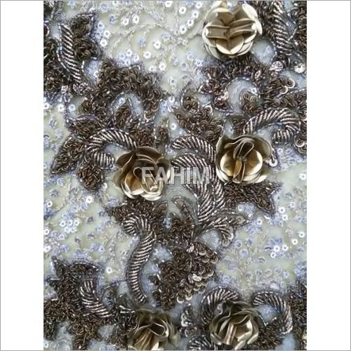 Hand Embroidery Metallic Sheet Flower Patch