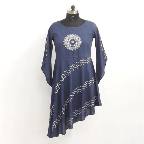 Blue Lucknowi Short Kurti