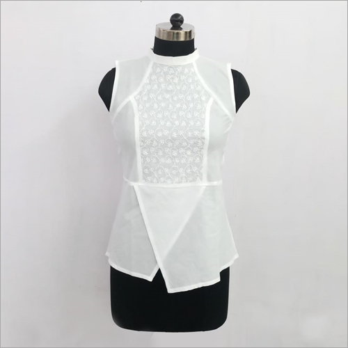 Embroidery White Chikankari Short Top