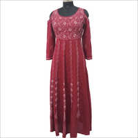 Cold Shoulder Hand Embroidered Kurti