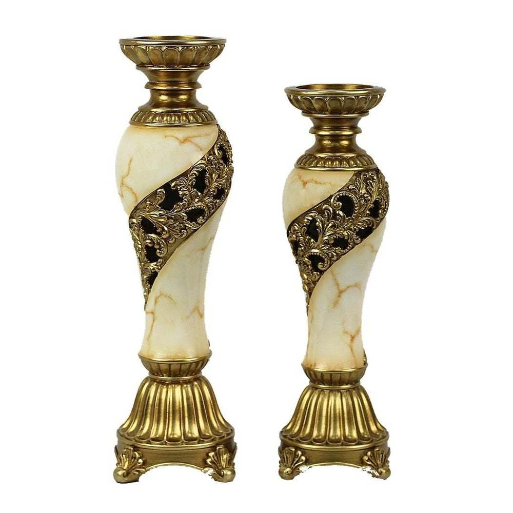 Candida Design Two Piece Hurricane Candle stick Set