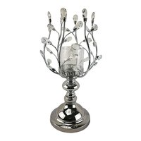 Crystal Design Silver Tall Metal Candle Holder