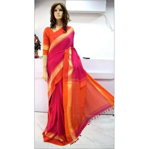 Khadi Cotton Temple Work Saree