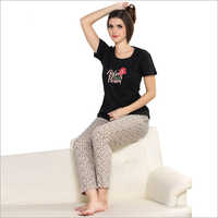 Ladies Casual Pajama With T-Shirt Set