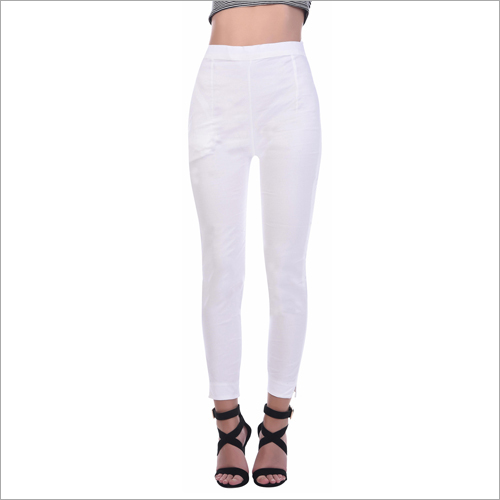 Ladies Cotton White Pant