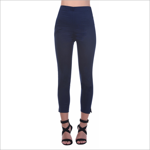 Ladies Cotton Navy Blue Pant
