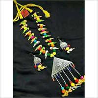 Oxidised Metal Multicolored Bird Necklace Set