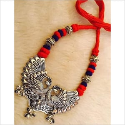 Oxidize Metal Peacock Pendant Necklace Set