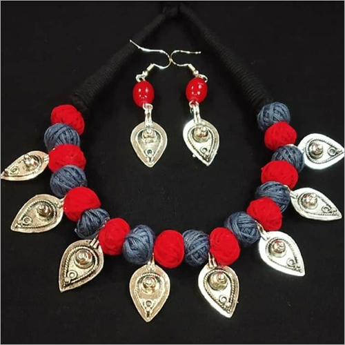 Oxidize Metal Leaf And Multi Colored Cotton Ball Necklace Set