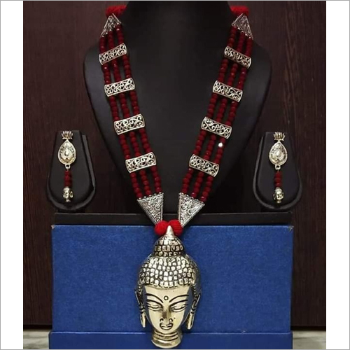 Oxidised Beaded Buddha Necklace Set