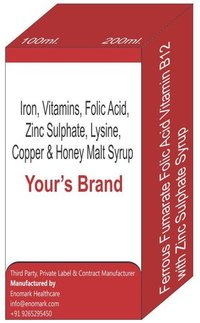 Iron Vitamin B12 Vitamin B6 Vitamin B61 Vitamin B2 Vitamin B3 Folic Acid and Zinc Sulphate Lysine Copper Honey Malt Syrup