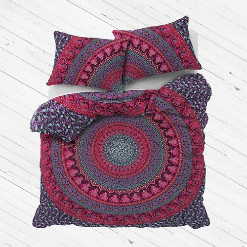 Indian Mandala Pink Cotton Duvet Cover