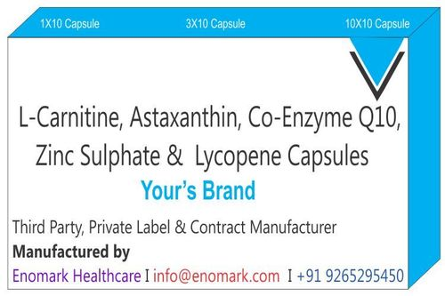 L Carnitine Astaxanthin Capsules  Co-enzyme Q 10  Zinc Sulphate Lycopene