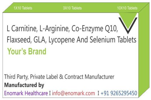 L Carnitine L-Arginine Co-enzyme Q 10 Flaxseed   GLA  Lycopene and Selenium Tablets