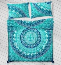 Indian Mandala Blue Circle Cotton Duvet Cover