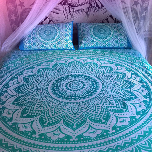 Indian Mandala Cotton Green Duvet Cover