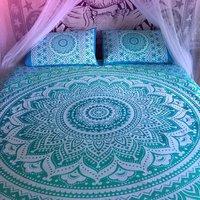 Indian Mandala Cotten Green Duvet Cover