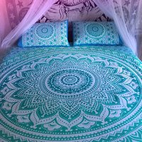 Indian Mandala Cotton Green Duvet Cover