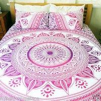 Indian Mandala Cotton Pink Flower Duvet Cover