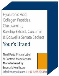 Hyaluronic Acid, Collagen Peptides, Glucosamine, Rosehip Extract, Curcumin & Boswellia Serrata Sachets
