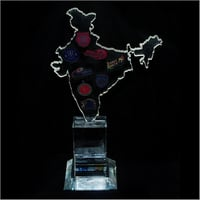 India Map Crystal Plaque