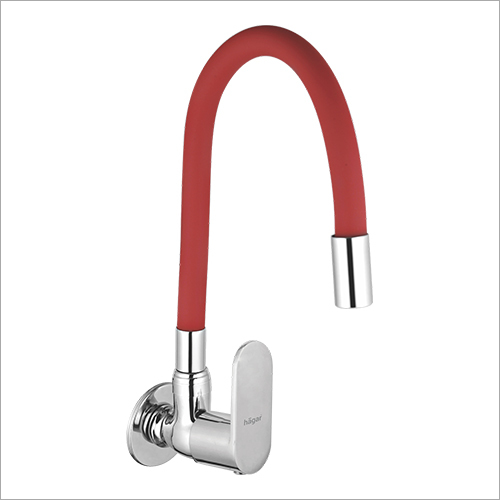 Wall Mounted Sink Cock With Flexible Coloured Spout