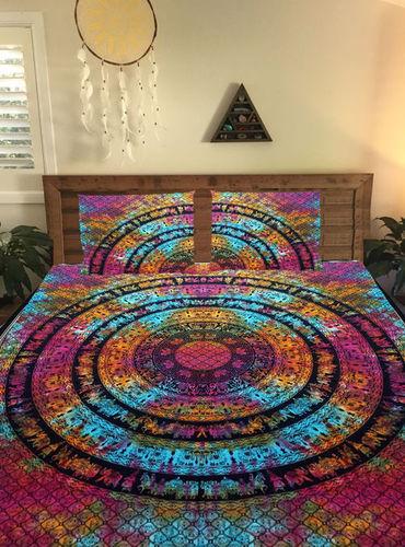 Indian Mandala Cotton Pink Circle Duvet Cover