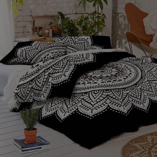 Indian Mandala White Flower Cotton Duvet Cover