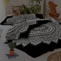 Indian Mandala White Flower Cotton Duvet Cover