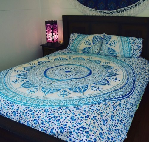 Indian Mandala Blue Flower Cotton Duvet Cover